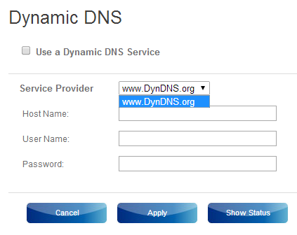 Screenshot from Sky Hub's Dynamic DNS screen showing a list with a single entry.