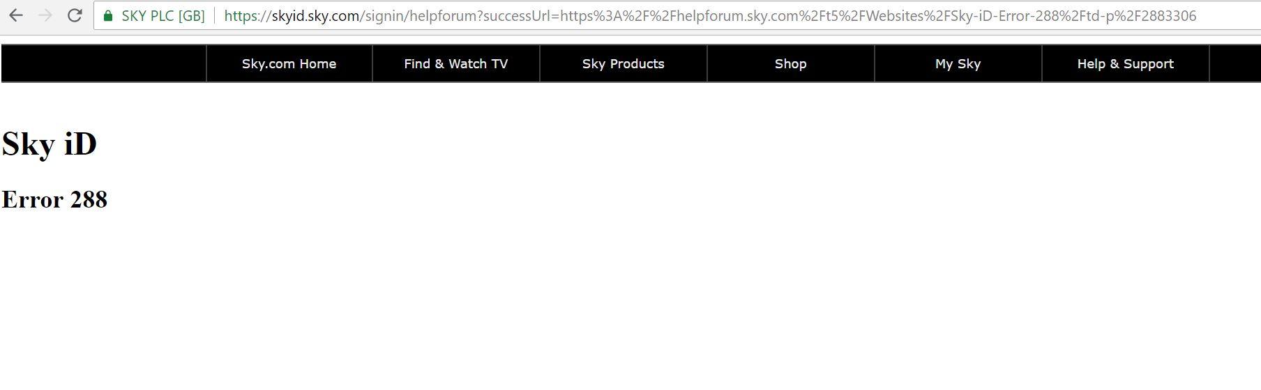 Sky Id Error 288 Sky Community