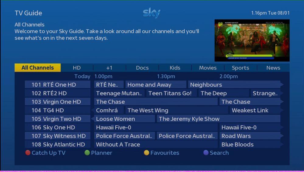 Sky Channel List