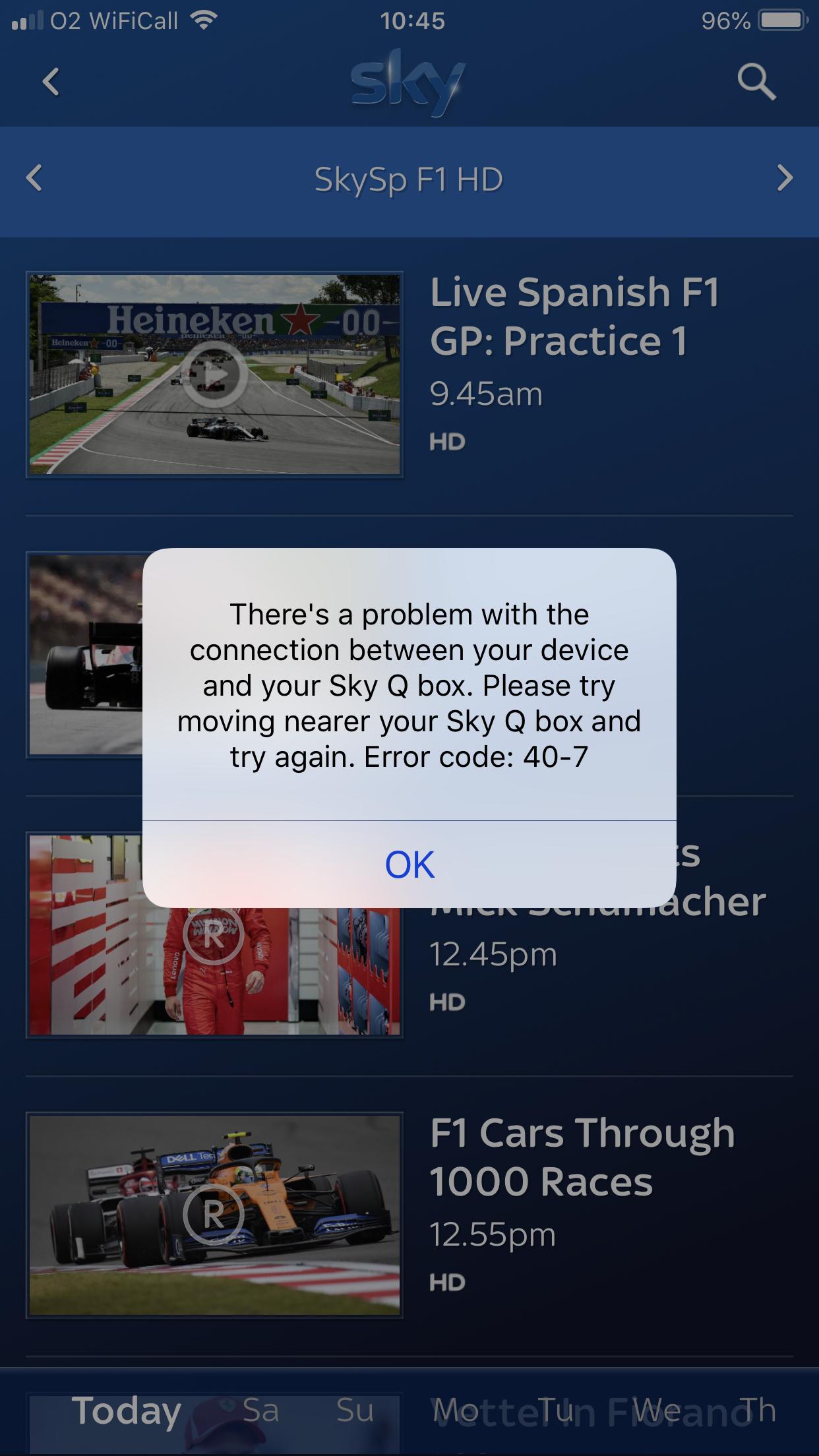 Sky Error Onair Service