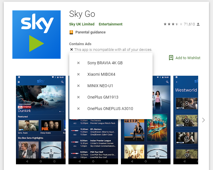 Can't install SKY Go app: This app is incompatible    - Sky Community
