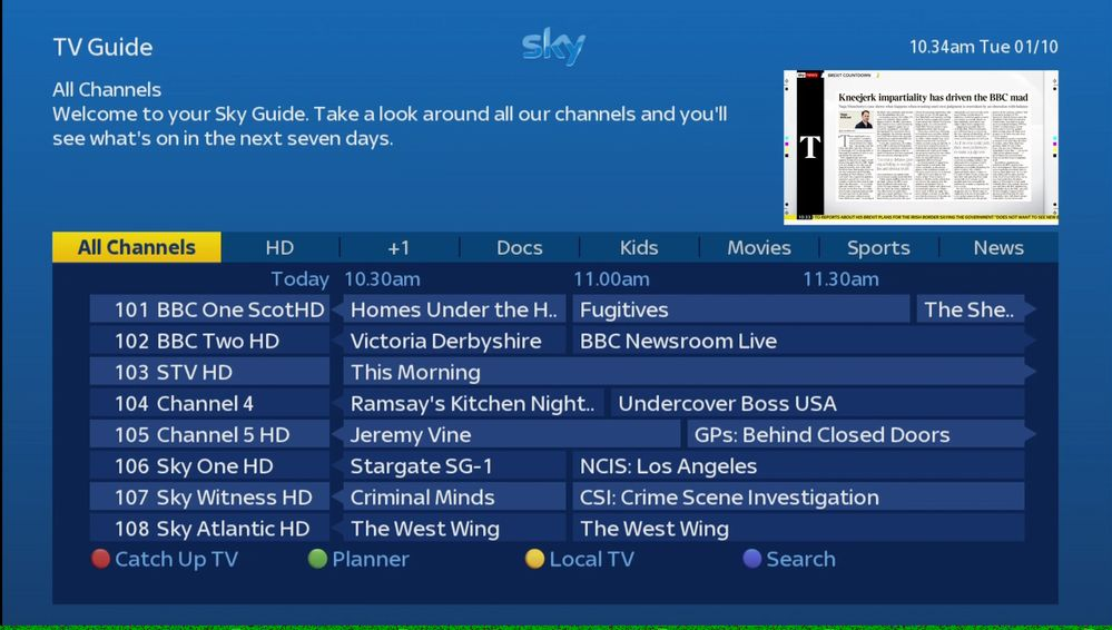 Changes to the Sky TV Guide happening in October 2019