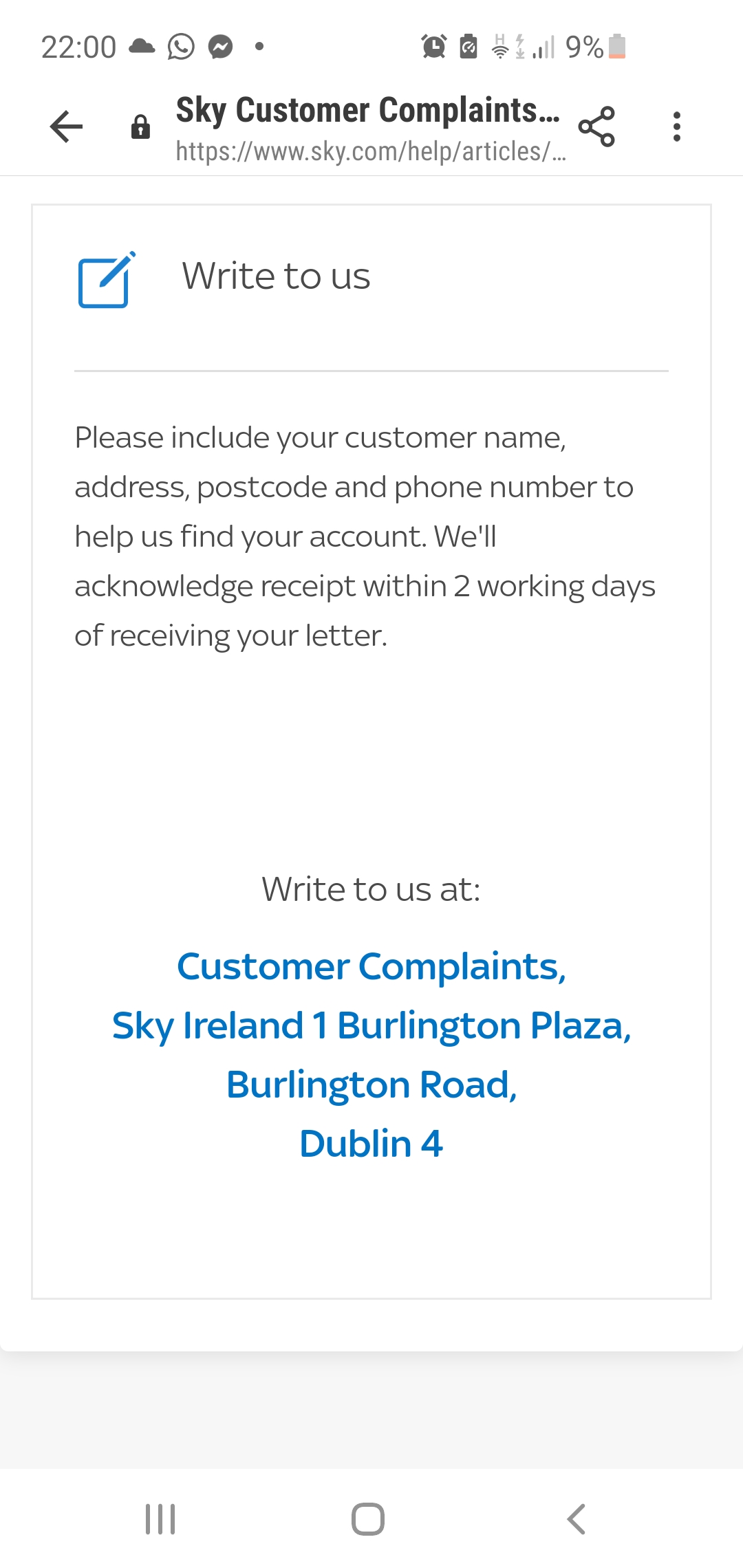 Sky Support Email